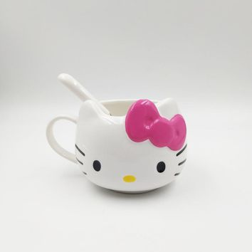 Cartoon Little Cat Bone Ceramic Coffee Milk Tea Mug Cup with Lid Spoon Gift Mug
