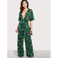 Multicolor Plunge Neck Self Belted Palazzo Jumpsuit