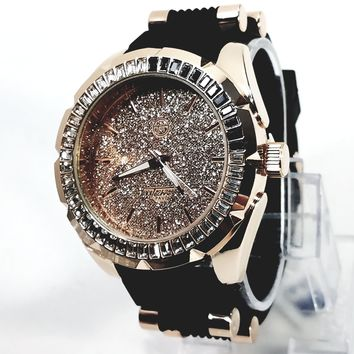 Techno Pave Rose Gold Finish Frosted Rose Gold Face 55+ Lab Diamond Mens Watch Black Silicon Band 7524