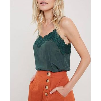 spaghetti strap lace detailed camisole - green