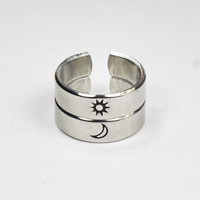 Sun And Moon Ring, Simple Couples Rings, Friendship Gift Rings, Custom Personalized Hand Stamped Aluminum Ring