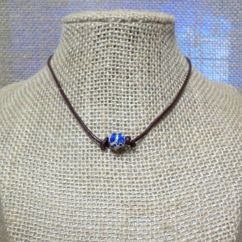 Blue Smooth Lapis Imperial Jasper Semi-Precious Stone Genuine Leather Cord Choker Necklace Pearl Slip Knot Closure