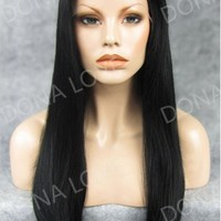 Jet Black Waist-length Straight Synthetic Lace Wig-SNY015 - SYNTHETIC WIGS - DonaLoveHair