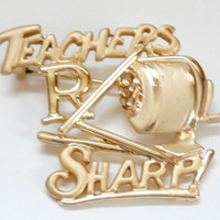 Vintage early 90s back to school teachers gold brooch