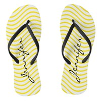 Yellow and White Wavy Line Pattern Flip Flops
