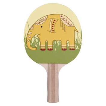 Golden Cute Elephant on Grass Ping Pong Paddle