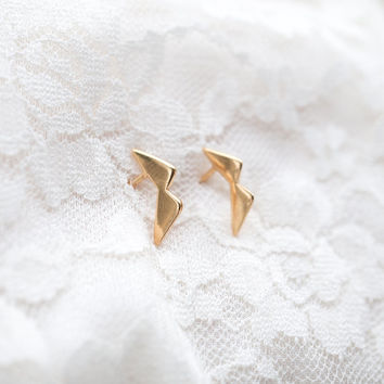 3D Collar Ear Studs gold rose gold 925 sterling Silver ear studs earrings unique minimal nordic design