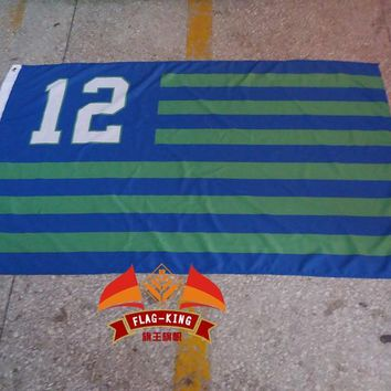 Seattle Seahawks 12   flag, with American national flag background green banner,90*150CM polyster free shipping