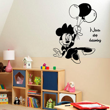 Disney Mouse Wall Decals Never Stop Dreaming Quotes Children Vinyl Sticker Words Baby Kids Wall Decor Art Girl Boy Nursery Room Decor KG658