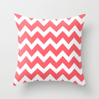 Chevron 5 Coral Throw Pillow by Beautiful Homes