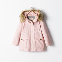Quilted parka with detachable fur