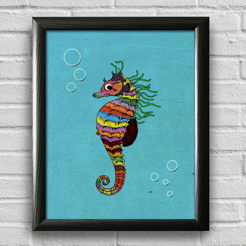 Seahorse Print, Sea Life Art, Bathroom Art Print, Nursery Wall Art, Kids Wall Art, Home Decor, Nautical Print