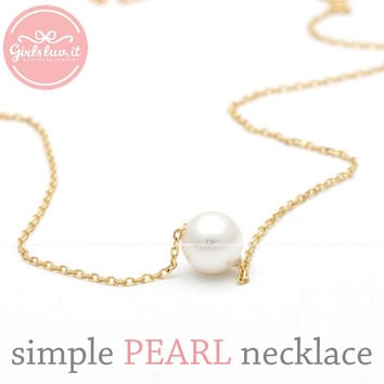 girlsluv.it - sterling silver, simple PEARL necklace