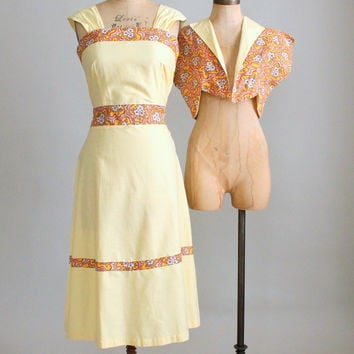 Vintage Early 1950s Sunshine Sundress and Jacket Deadstock