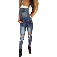 2017 Summer Casual denim overalls sexy hole ripped jumpsuit women rompers sleeveless bodysuit playsuit button one piece overalls