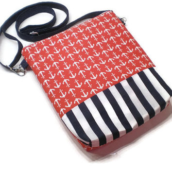 Anchors shoulder purse, crossbody bag with adjustable straps. Red anchors with navy and white stripe accent.