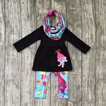 new arrival Fall/winter 3 pieces scarf black baby girls kids outfits troll print pant hot sell boutique children clothes kid set