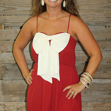 Sassy School Spirit Gameday Dress in Crimson and White
