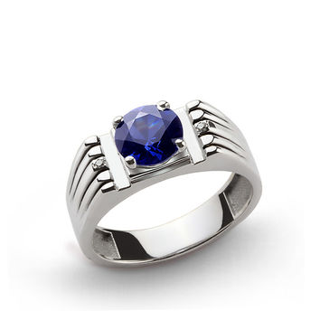 925 K Sterling Silver Men's Ring with 2.40 ct Sapphire and 0.01 ct Diamonds