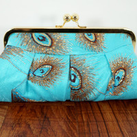 Peacock clutch, turquoise clutch purse, framed evening bag, silk peacock sequin bag in gold frame