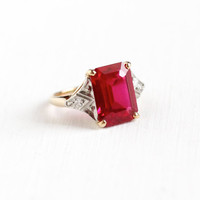 Vintage 10k Yellow & White Gold Art Deco Created Ruby and Diamond Ring - 1930s 1940s Size 3 1/2 Emerald Cut Red Pink Stone Fine Jewelry