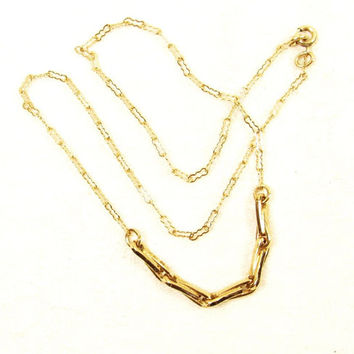 12k GF Gold Filled Deco Decorative Chain Link Necklace
