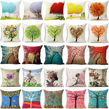 """18"""" Decorative Square Pillow Cover Flower and Life Tree Pattern Cotton Linen Cushion Cover Sofa Waist Pillow Case"""