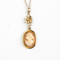 Vintage Art Deco Gold Tone Cameo Lavalier Necklace - 1930s Carved Shell Woman Silhouette Classic Flower Filigree Drop Pendant Jewelry