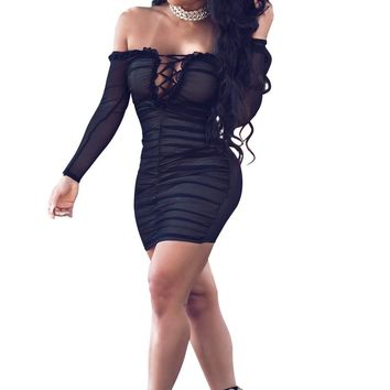 Off Shoulder Long Sleeves Strap Cross Bodycon Little Black Dress
