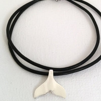 Whale Tail Necklace Sterling Silver Whale Tail Pendant Leather Necklace Dolphin Tail Necklace Humpback Whale Tail Pendant
