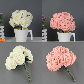 Quality Artificial Rose Flower Wedding Bridal Bouquet Prom Rome Home Decor