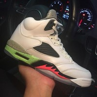 Air Jordan 5 Retro Pro Stars Space Jam 136027-115 V White Green Men's Height Increasing Shoes Fashion Shoes Top Quality With Original Box