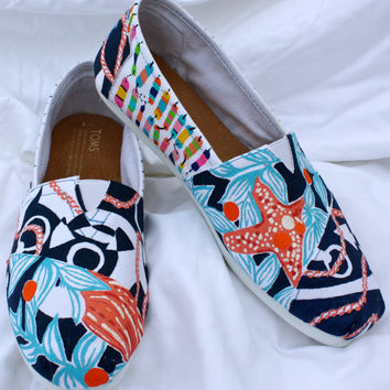 Lilly Pulitzer Inspired Hand Painted Toms - Custom Orders