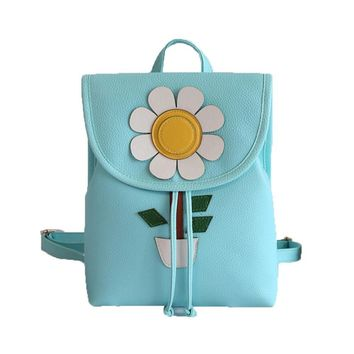 Backpack Women Flowers Fresh Simple Mini Backpack Artificial Leather Casual Shoulder Bag Fashion Back Pack Backpacks Girls
