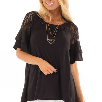 Black Ruffle Sleeve Top with Sheer Lace Detail