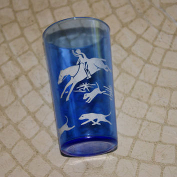 Vintage 1930s Hazel Atlas Hunt Pattern Cobalt Blue And White Enamel Paint Juice Glass Or Tumbler With Horses And Dogs