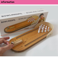 Children Mini Bowling Toy Mini Desktop Wooden Bowling Board Game Toy Adult And Children's Table Grounder Mini Bowling Kids Toys