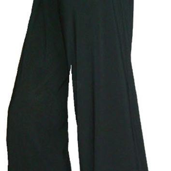 Funfash Plus Size Gaucho Flare Long Black Palazzo Pants Women Plus Size Pants