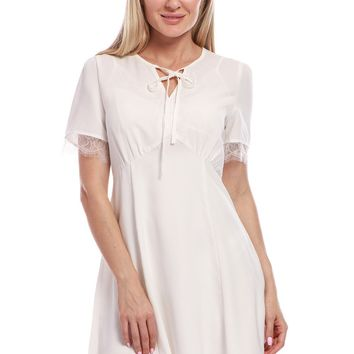 Avoir Aime Vintage Inspired Classic Chiffon Short Sleeve Knee Length Dress With Lace and Keyhole