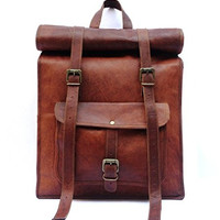 Handmade Genuine 17 inch leather laptop computer macbook backpack rolltop