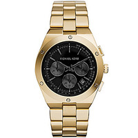 Michael Kors Reagan Goldtone Black Sunray Dial Watch