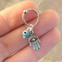 Hamsa Hand CBR Captive Bead Ring Hoop Evil Eye