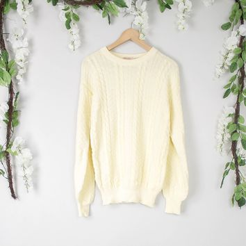 Vintage Banana Yellow Cable Knit Sweater