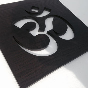 Wooden Om Symbol - Wood Art - Dark Wood