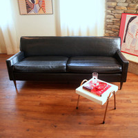 50s VINTAGE MIDCENTURY MODERN Sofa Fabulous Black Faux Leather Retro Flexsteel 1950's Living Room Mid Century Modern Furniture Chicago
