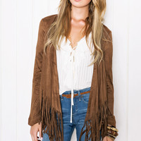Brown Long-Sleeve Fringed Suede Coat