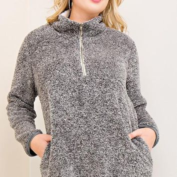 plus half zip pullover fleece sweater