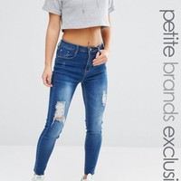Missguided Petite Exclusive High Waisted Distressed Skinny Jeans at asos.com