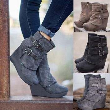 Wedge Heel Ankle Boots High Heel Shoes Casual Style Zipper Fashion Booties