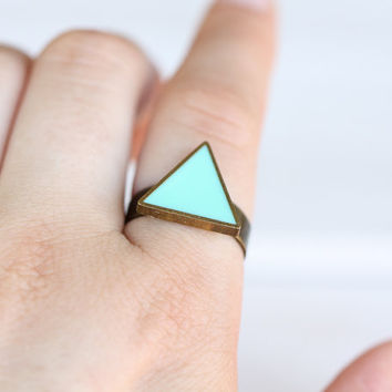 Mint Triangle Ring in Antique Bronze